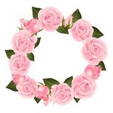 Pink Rose Flower Wreath. isolated on White Background. Vector Illustration.  royalty free illustration