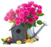 Pink rose  flowers with birdcage Stock Photography