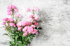 Pink rose flowers bouquet on white rustic wooden background Stock Images