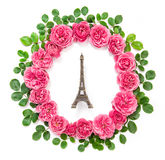 Pink rose flowers Eiffel tower Paris flat lay Royalty Free Stock Photos