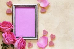 Pink rose flowers, frame for text and hearts for Valentines Royalty Free Stock Images