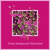 Pink rose flowers with leaves. Background illustration. royalty free illustration