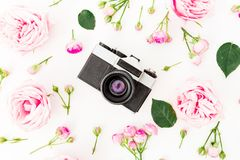 Pink rose flowers with old retro camera on white background. Flat lay, Top view. Valentines day concept stock photo