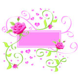 Pink rose frame. Pink frame with roses and hearts Stock Image