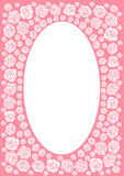 Pink rose frame border. Pink rose frame with an oval centre Royalty Free Stock Images