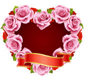 Pink Rose Frame in the shape of heart Royalty Free Stock Photo