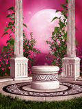 Pink rose garden with columns Stock Photo