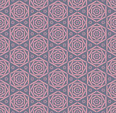 Pink rose geometry line seamless pattern. Stock Photo