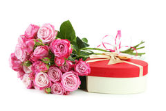 Pink rose with gift box Royalty Free Stock Photography