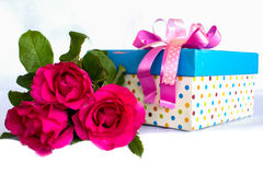 Pink rose and gift box Stock Images