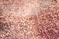 Pink rose gold square mosaic tiles for background stock photo