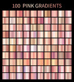 Pink rose gradients collection for fashion design. Collection of shiny rose gradient illustrations for backgrounds, cover, frame, ribbon, banner, label, flyer Stock Image