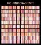 Pink rose gradients collection for fashion design. Collection of shiny rose gradient illustrations for backgrounds, cover, frame, ribbon, banner, label, flyer Vector Illustration