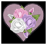 Pink Rose Heart on Black Stock Photography
