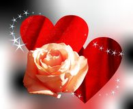 Pink rose and hearts Stock Photography