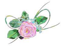 Pink rose. Holiday Arrangement. Illustration on white background Stock Images