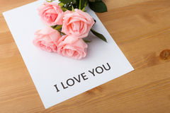 Pink rose with message of I Love You Royalty Free Stock Image