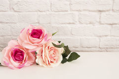 Pink Rose Mock Up. Styled Stock Photography. Floral Styled Wall Mock Up. Rose Flower Mockup, Valentine Mothers Day Card, Giftcard, Royalty Free Stock Image