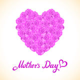 Pink rose mother Day Heart Made of purple Roses  on White Background. Floral heart shape vector background Royalty Free Stock Photo