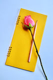 Pink rose on notebook royalty free stock photos
