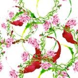 Pink rose ornament floral botanical flower. Watercolor background illustration set. Seamless background pattern. Pink rose ornament floral botanical flower royalty free illustration