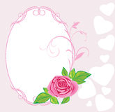 Pink rose with ornament. Valentines card Stock Image