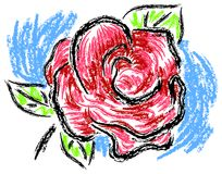 Pink rose painting with charcoal brush Stock Photography