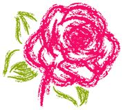 Pink rose painting with charcoal brush Royalty Free Stock Image