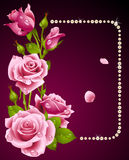 Pink rose and pearls frame Royalty Free Stock Photos