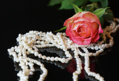 Pink rose and pearls. Pink rose and necklace on Black surface Royalty Free Stock Photo