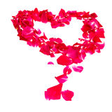 Pink rose petals forming heart Royalty Free Stock Photo