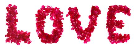 Pink rose petals forming letter  love Royalty Free Stock Images