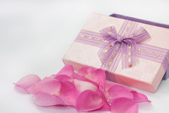 Pink rose petals in front of the pink box with ribbon Stock Photo