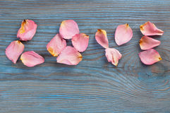 Pink rose petals imaging word love on blue wooden board Royalty Free Stock Images