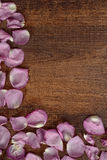 Pink rose petals making a border. On wood Stock Photo