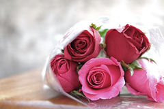 Pink rose in the pile of roses flowers. Which wrapped by transparent plastic on wood ground and grey-white background Stock Images