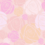 Pink rose  on pink background. Pink retro rose decorative vector pattern Stock Photo