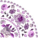 Pink rose quadrant ornament. Illustration with pink rose quadrant ornament Royalty Free Stock Photo