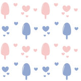 Pink rose quartz and serenity cute lovely ice cream seamless pattern background illustration with hearts Stock Photography
