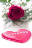 Pink rose with a red heart Royalty Free Stock Photos