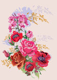 Pink rose and red poppy bouquet stock illustration