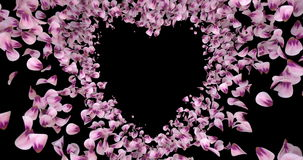 Pink rose sakura flower petals in heart shape alpha matte placeholder loop 4k stock footage