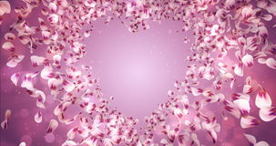 Pink Rose Sakura Flower Petals In Heart Shape Background Placeholder Loop 4k stock video