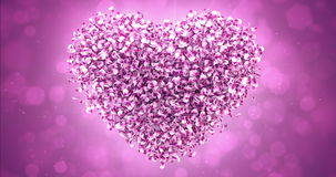 Pink Rose Sakura Flower Petals In Lovely Heart Shape Background Loop 4k stock video footage