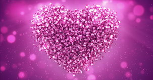 Pink Rose Sakura Flower Petals In Lovely Heart Shape Background Loop 4k stock video
