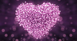 Pink Rose Sakura Flower Petals In Lovely Heart Shape Background Loop 4k stock footage