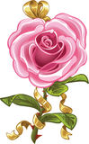 Pink rose in the shape of heart and gold bow Stock Image