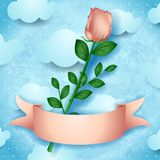 Pink rose on sky background royalty free illustration