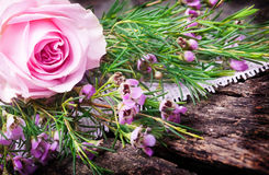 Pink Rose and small blossoms. On wood Stock Photo