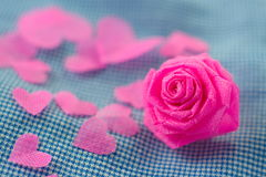 Pink rose and small hart on blue cloth background for Valentine Stock Photos